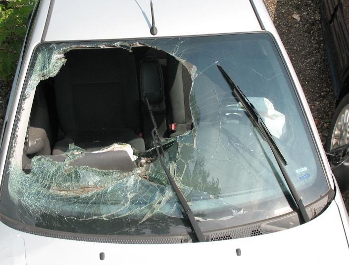 Collapsed Windshield From Accident